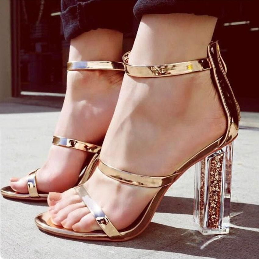 Jordyn Metallic Ankle Strap Clear Heel Sandals. Ultra stylish metallic  ankle strap sandals with transparent block heels. Ankle strap sandals are sexy  and ... 73205592ad1e