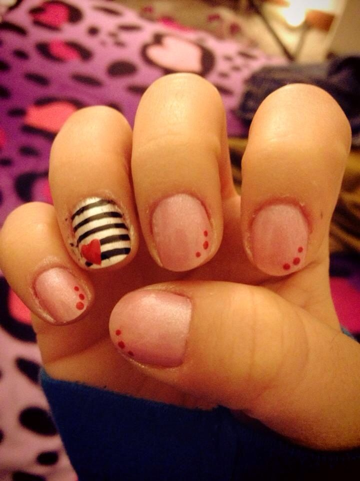 Valentines Day Inspired Nails Heart On Stripes Design My Own