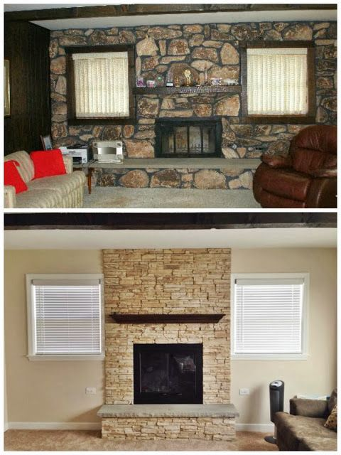 Stone Fireplace Remodel Before And After Google Search