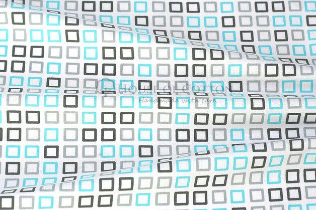 Gray \ aqua squares cotton fabric Aqua - salle de bain gris et bleu
