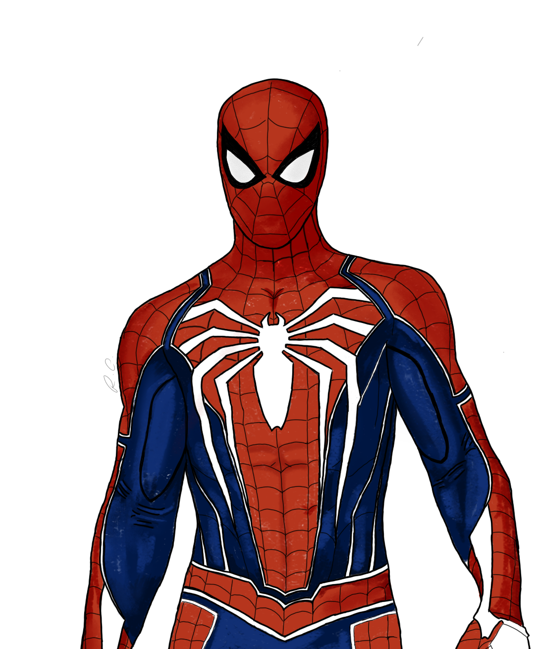 Spider Man Suit Drawing : spider, drawing, Simple, Advanced, Drawing, Marvel's, Spider-Man, Spiderman,, Marvel