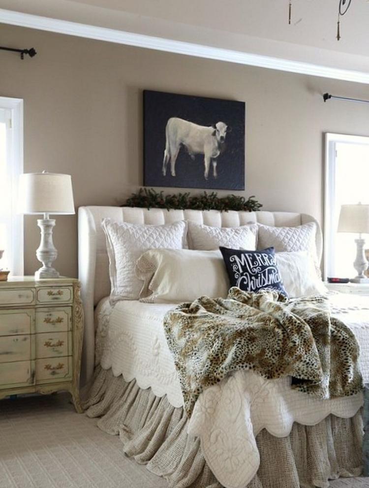 60+ Romantic Rustic Farmhouse Master Bedroom Decorating ...
