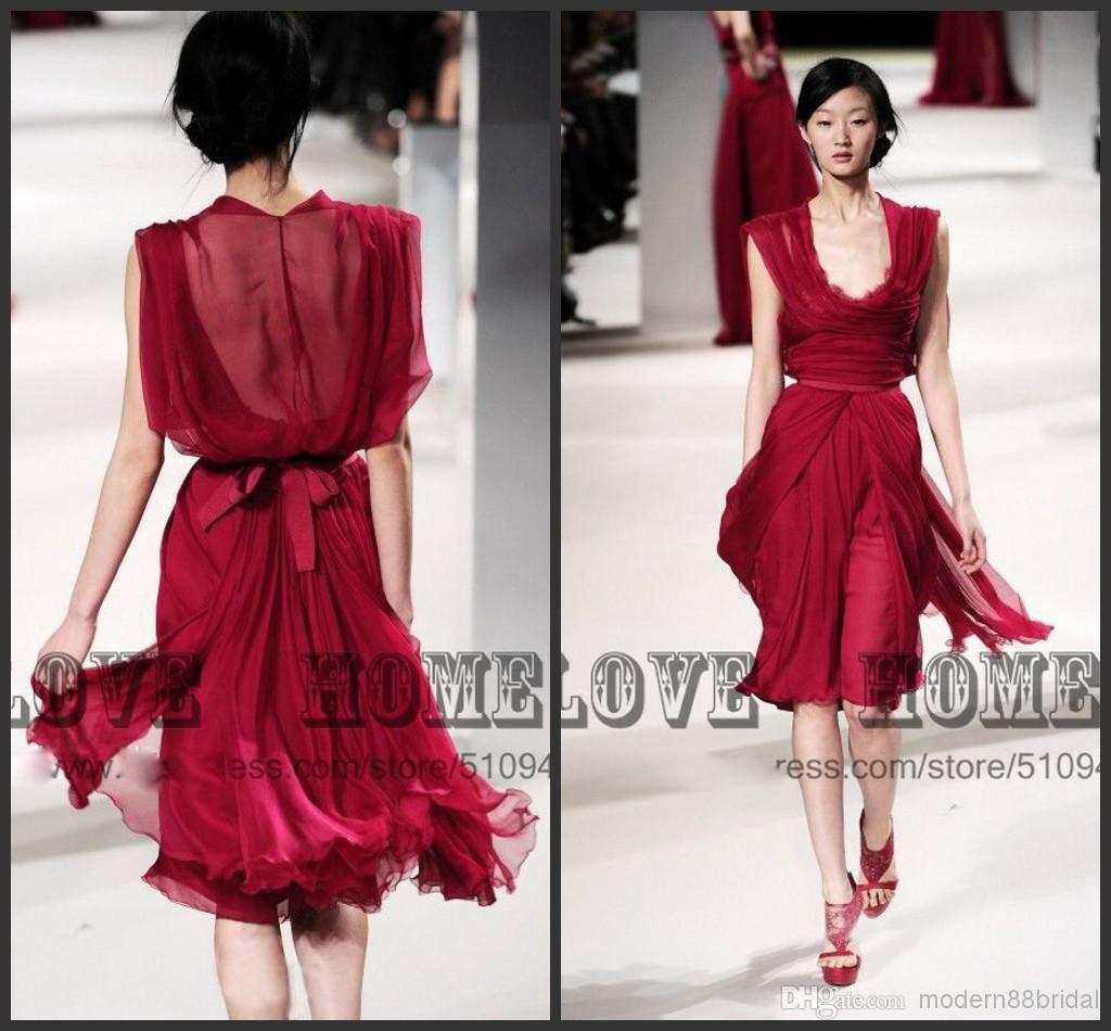2014 ELIE SAAB chiffon short prom dresses , Lace v neck sheer ...