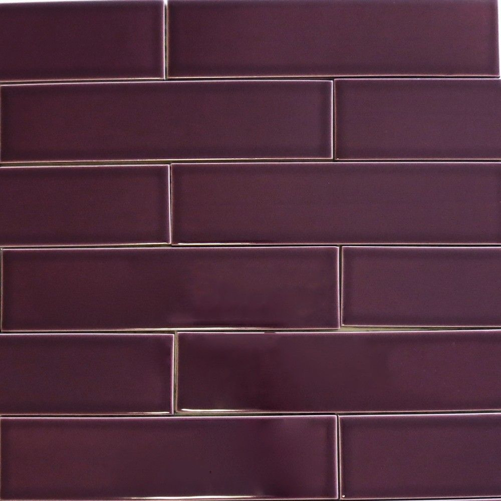 Kiln Ceramic Plum Dark Purple Ceramic Tile Ceramic Subway