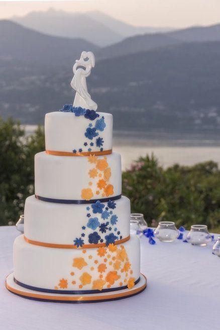 Orange And Blue Wedding Cakes