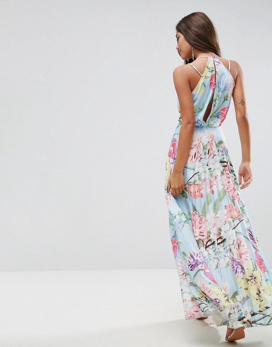 Asos blouson floral pleated wrap maxi dress multi products