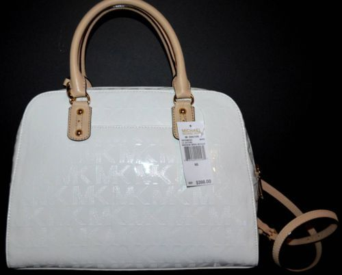 MICHAEL KORS White Patent Leather Lg Monogram Mirror Metallic ...