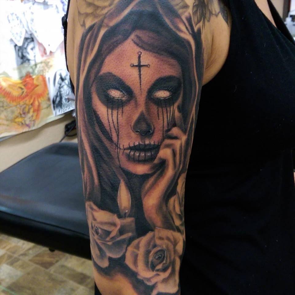 Santa Muerte Tattoo by Devin Zimmerman | Tattoos by Devin ...