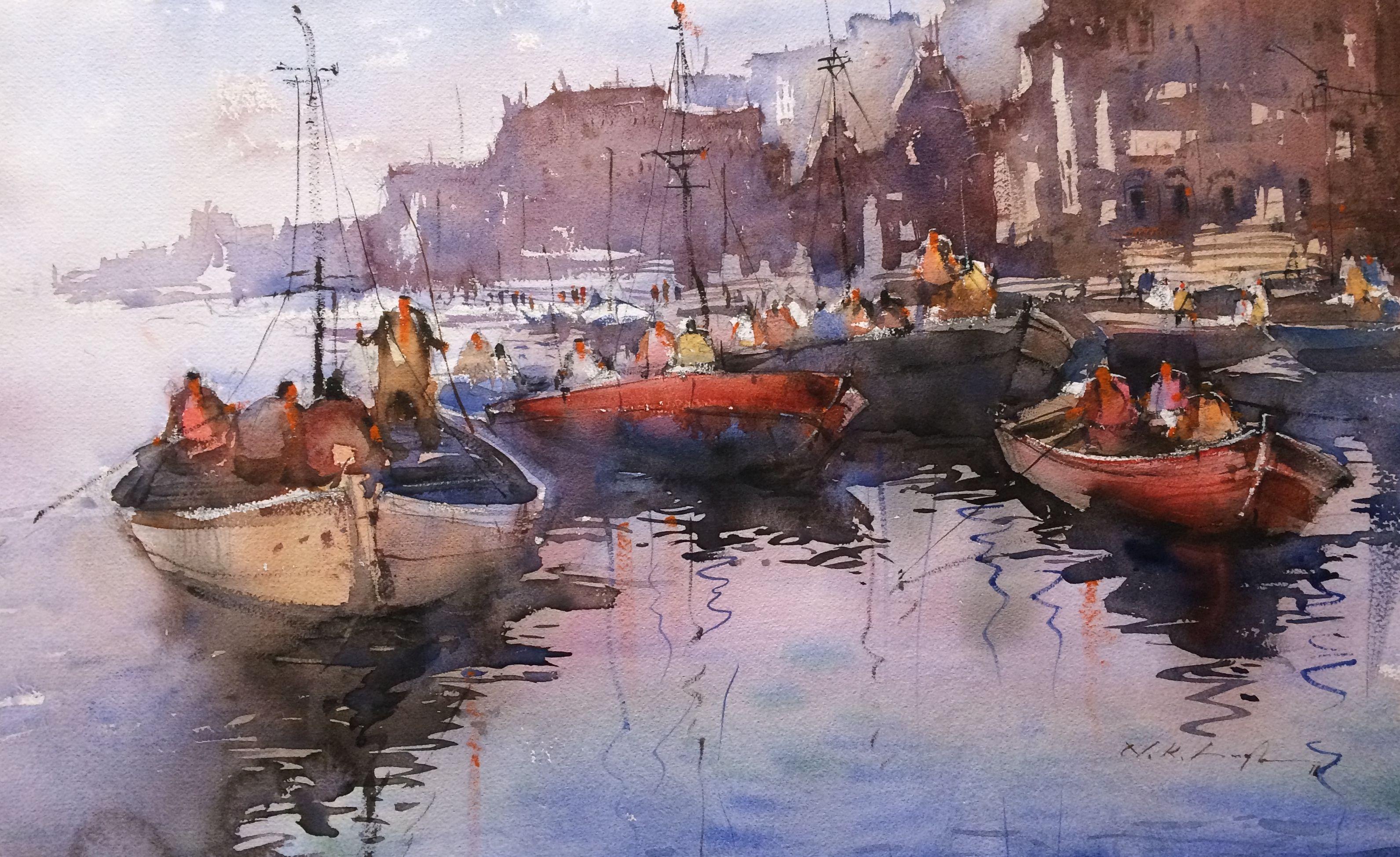 Original watercolor art for sale -  Watercolor Painting Of Varanasi Ghat Nitin Singh Is One Of The Emerging