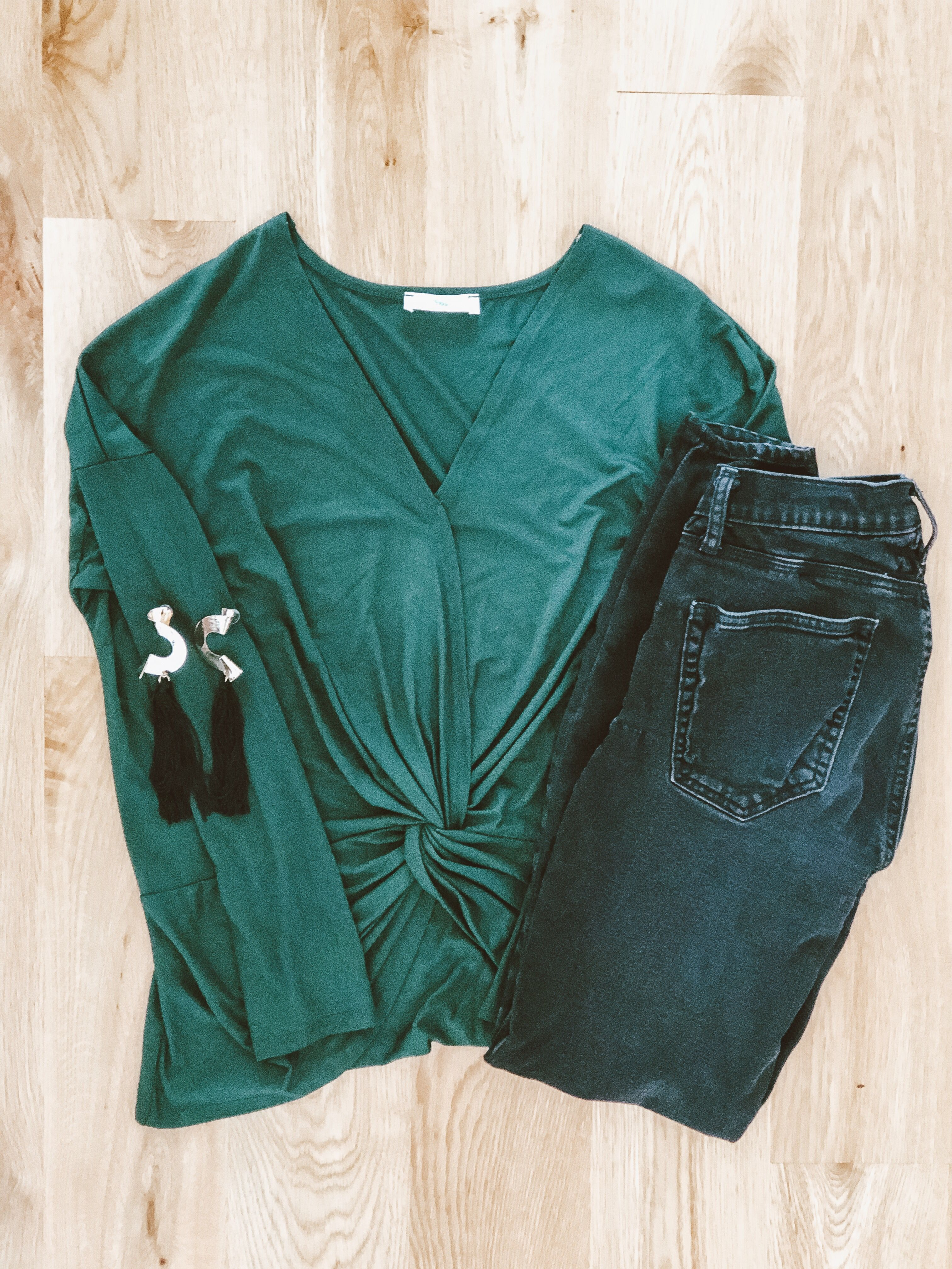 ecd3ca8f1c06b Our Lauren VNeck Top is a great top for work! We pair it with black