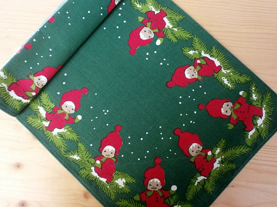 Swedish Christmas Printed Cotton Green Tablecloth Buhler Folk Christmas Linen Green Tablecloth Christmas Prints