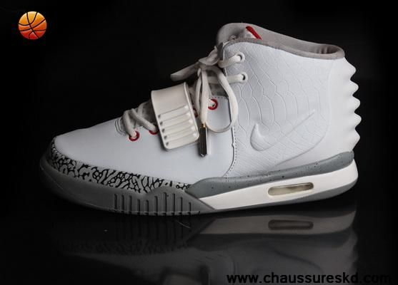 Nike Air Yeezy II Hommes Chaussures Blanc Gris