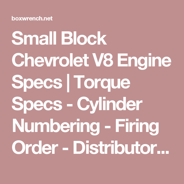 Small Block Chevrolet V8 Engine Specs