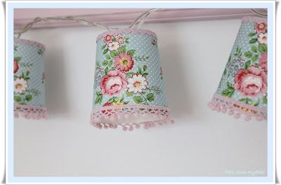 DYI - white string lights with fabric and lace decorated paper cup shades