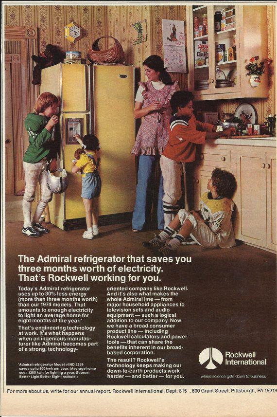 Admiral Refrigerator Original 1976 Vintage Print Ad Color Photo