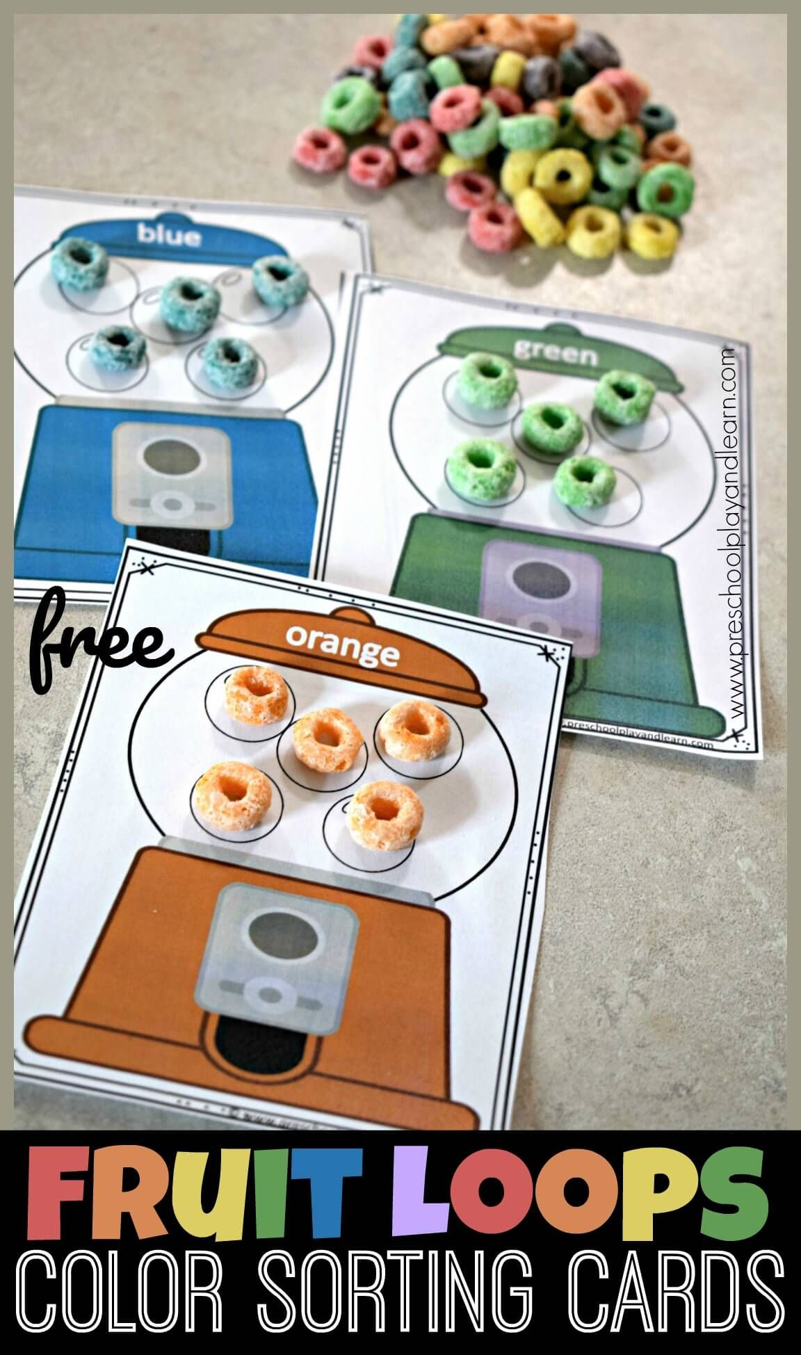Free Fruit Loops Color Sorting Cards