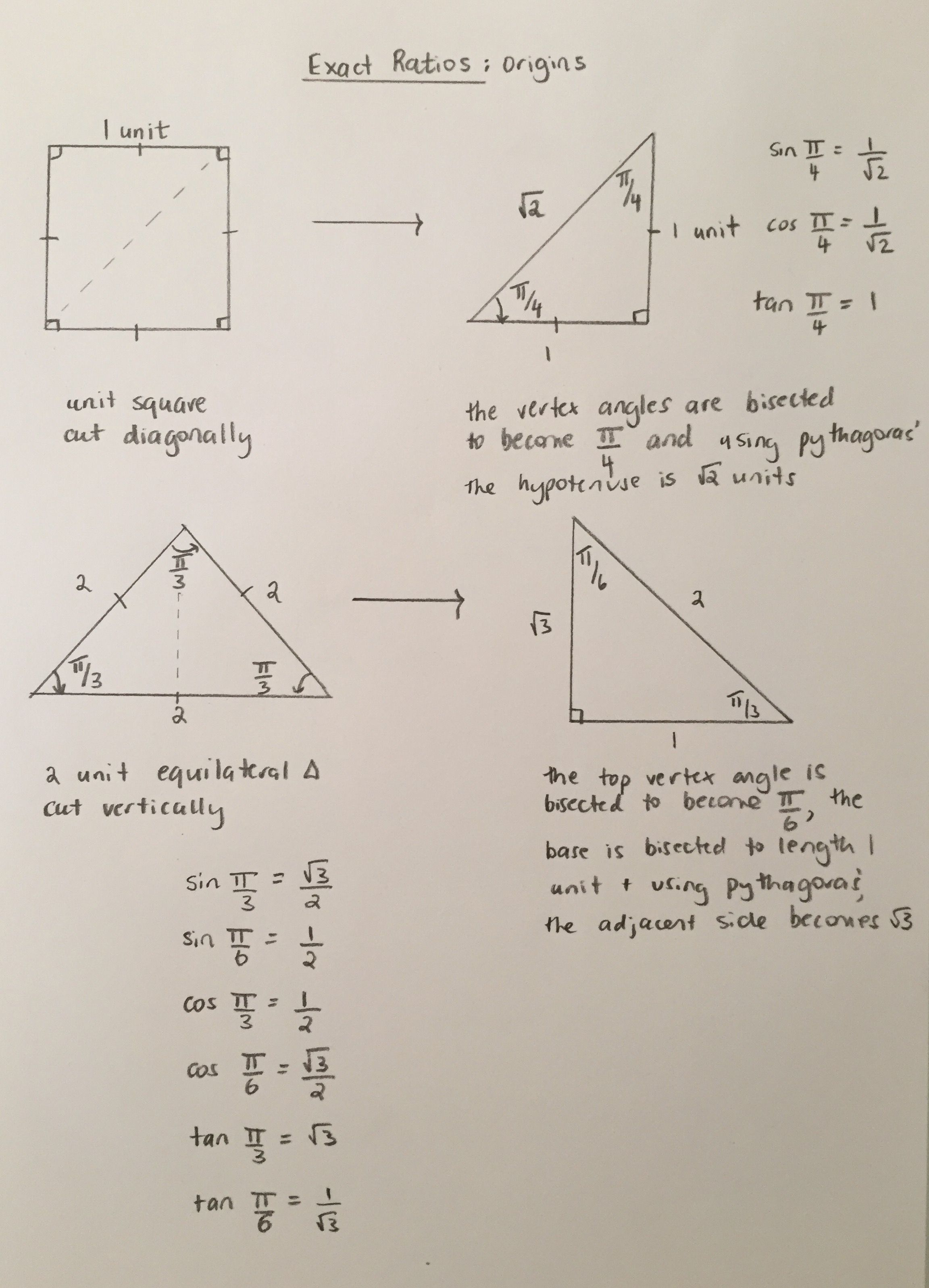 Exact Trig Ratios The Unit Square And 2 Unit Equilateral Triangle Mathematics Online Studying Math Study Notes