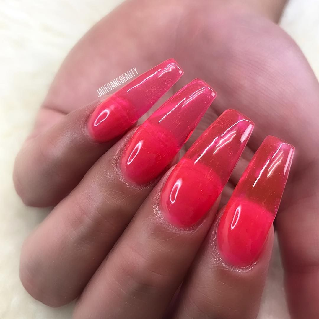 Jelly Nails Using Our Gel Tint Top Coat Hot Pink Done By Jadedangbeauty How To Recreate Apply Clear Acr Jelly Nails Purple Gel Nails Purple Acrylic Nails