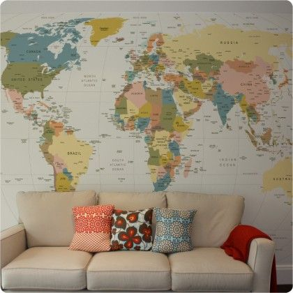 World Map wall paper in Antique