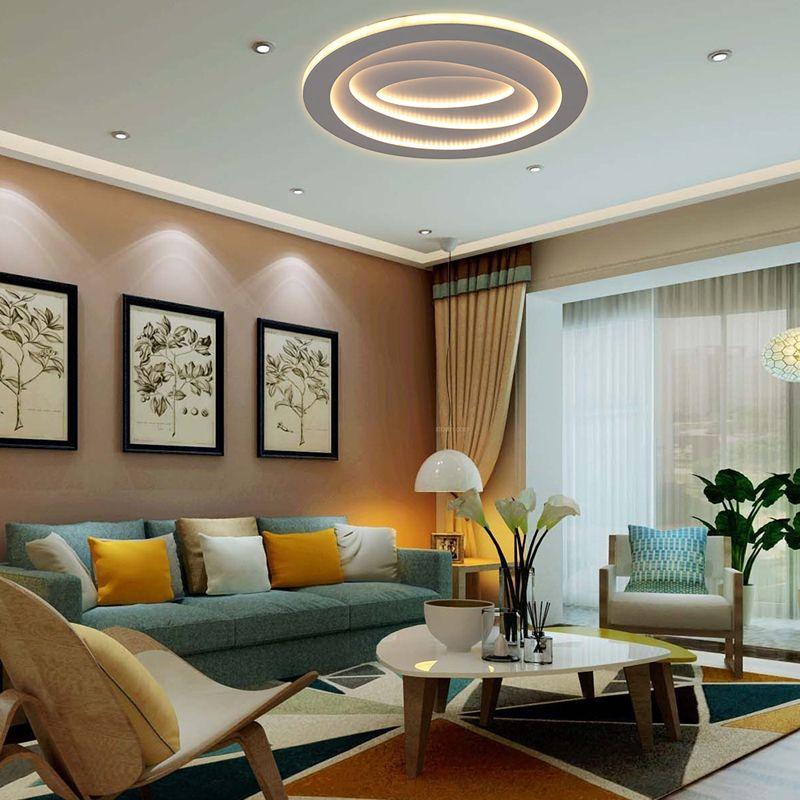 Plafonnier rond led en fer style simple moderne pour - Plafonnier salle a manger ...
