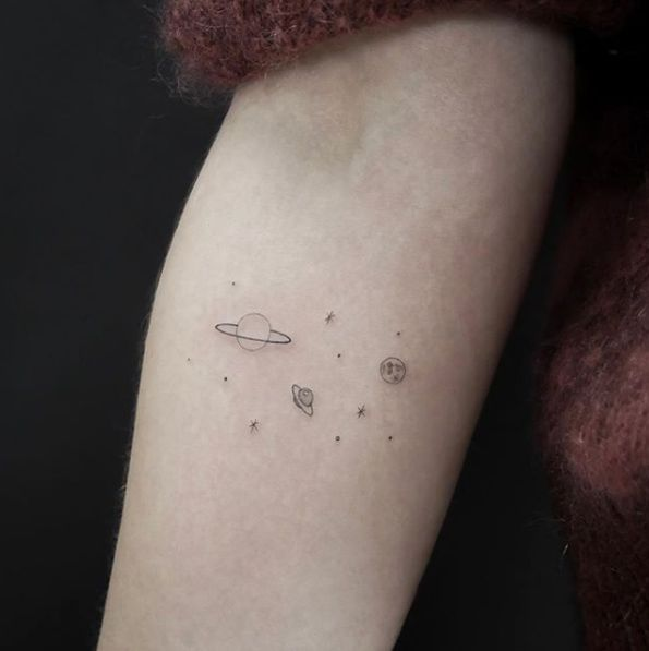 Little Universe By Jakub Nowicz Planet Tattoos Line Tattoos Small Tattoos