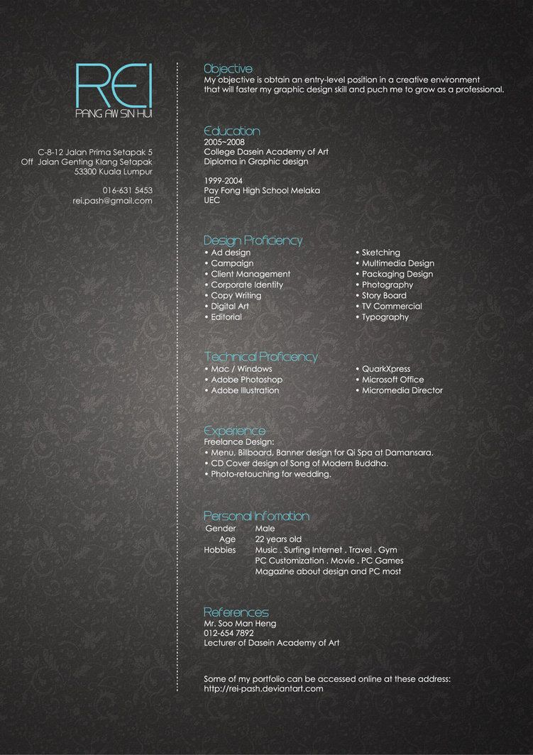 Rei S Resume By Rei Pash On Deviantart Graphic Design Resume Resume Design Creative Resume Design