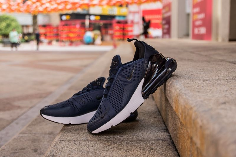 best sneakers 51236 894a3 Nike Air Max 270 AH8050-400 Blue Black Sneaker for Sale-07 take a look at  the Nike Air Max 270 in this clean Navy and Black color scheme.