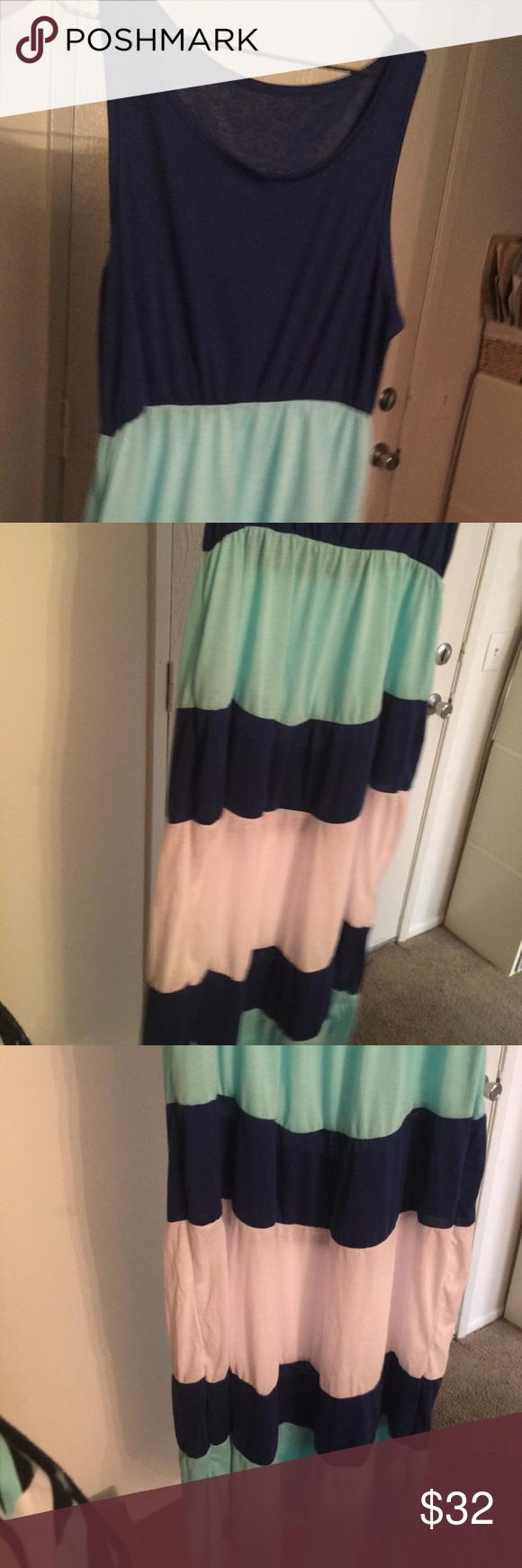 New long tank dress navy turquoise white stripe tank dress