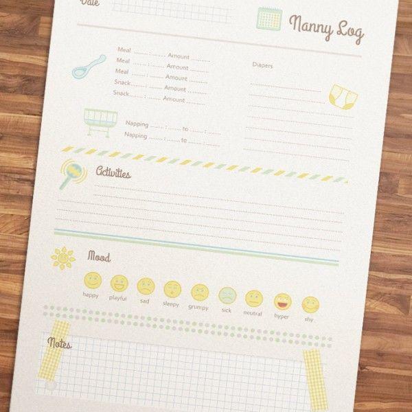 Printable Nanny Log - 1 Year And Older