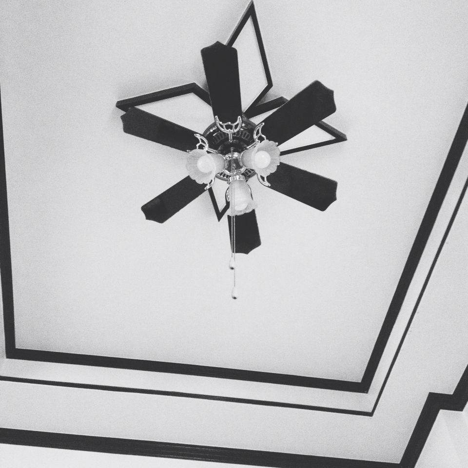 Staring at our ceiling.