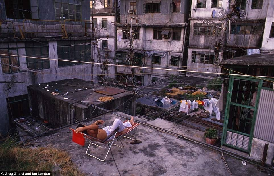 Kowloon, China's once Walled City. An urban anomaly that holded the record of concentration of pupulation in the world: a population density of approximately 1,255,000 inhabitants per square kilometre (3,250,000 /sq mi) in 1987.