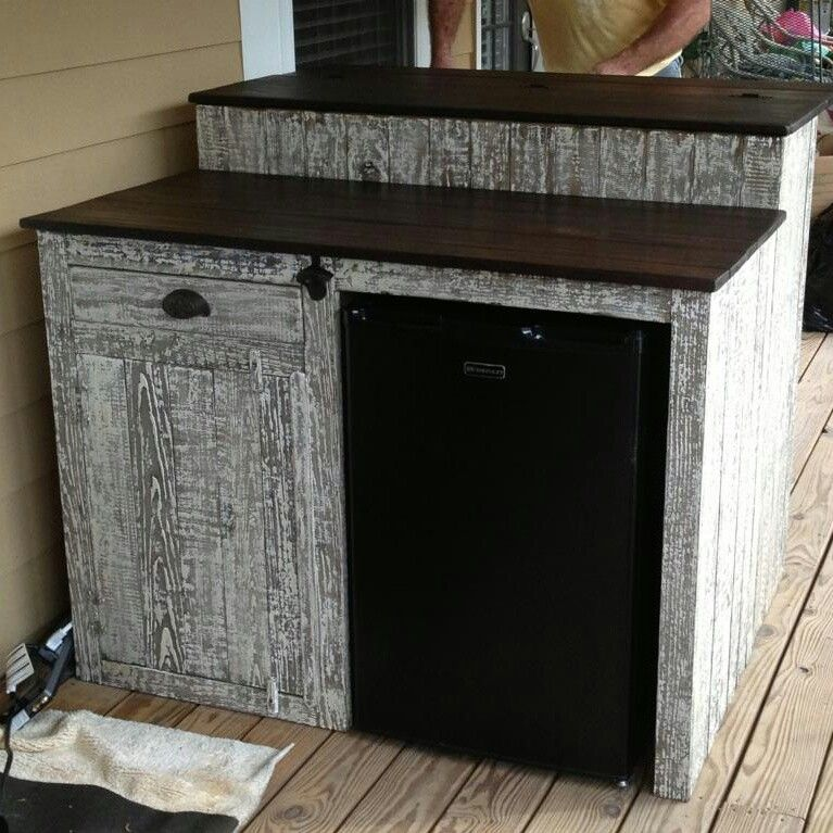 Custom Outdoor Bar With Mini Fridge Storage Cabinet And Drawer Finished In Driftwood
