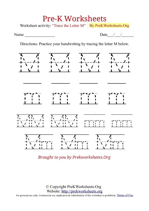 Pre k tracing worksheet m bulltin board pinterest tracing pre k tracing worksheet m spiritdancerdesigns Image collections
