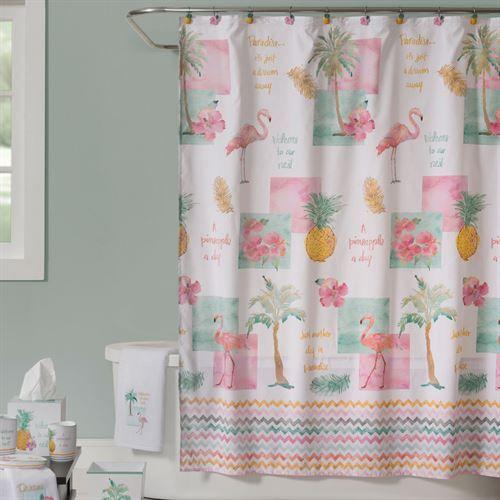 Flamingo Fever Shower Curtain White 70 X 72 Tropical Bathroom