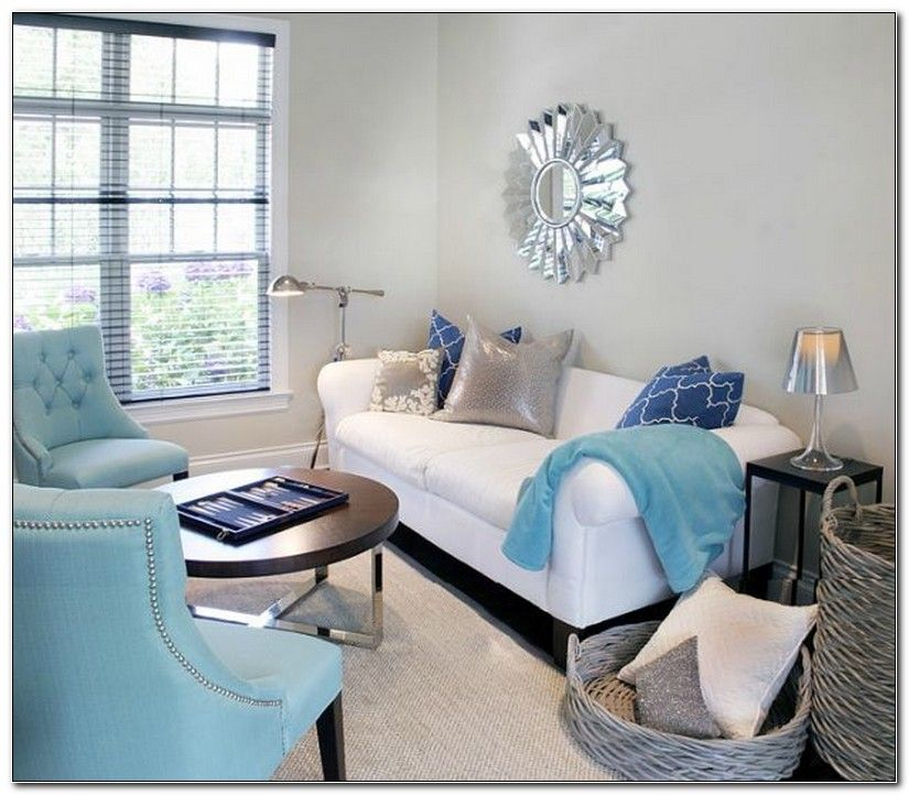 Turquoise White And Silver Living Room