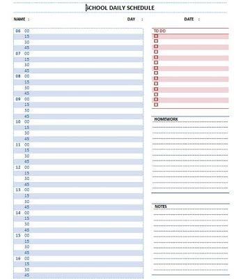 Elegant Student Planner Templates | Daily School Schedule Template ~ Microsoft Word  Templates  Daily Calendar Template Word
