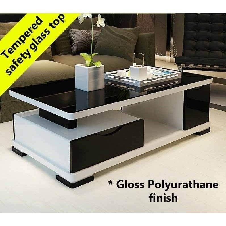 Modern Multi Level Gloss Coffee Table White Black Centre Table