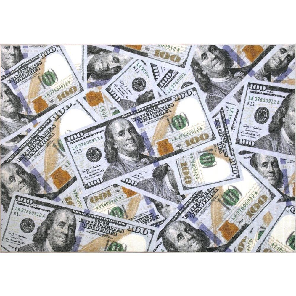 Ottomanson Siesta Kitchen Collection 100 Dollar Bill Design Multi 5 Ft X 6 Ft 6 In Area Rug Stk3112 5x7 In 2020 100 Dollar Bill Money Bill Money Background