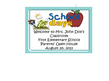Back to School, Open House, Parent Orientation Nights when we, as teachers, have a multitude of  information to dispense to parents and very little...Power Point Template Butterfly & Insects theme. Also have pirates, frogs, kids, Dr.Seuss quick and easy way to start the Open House Parent Night