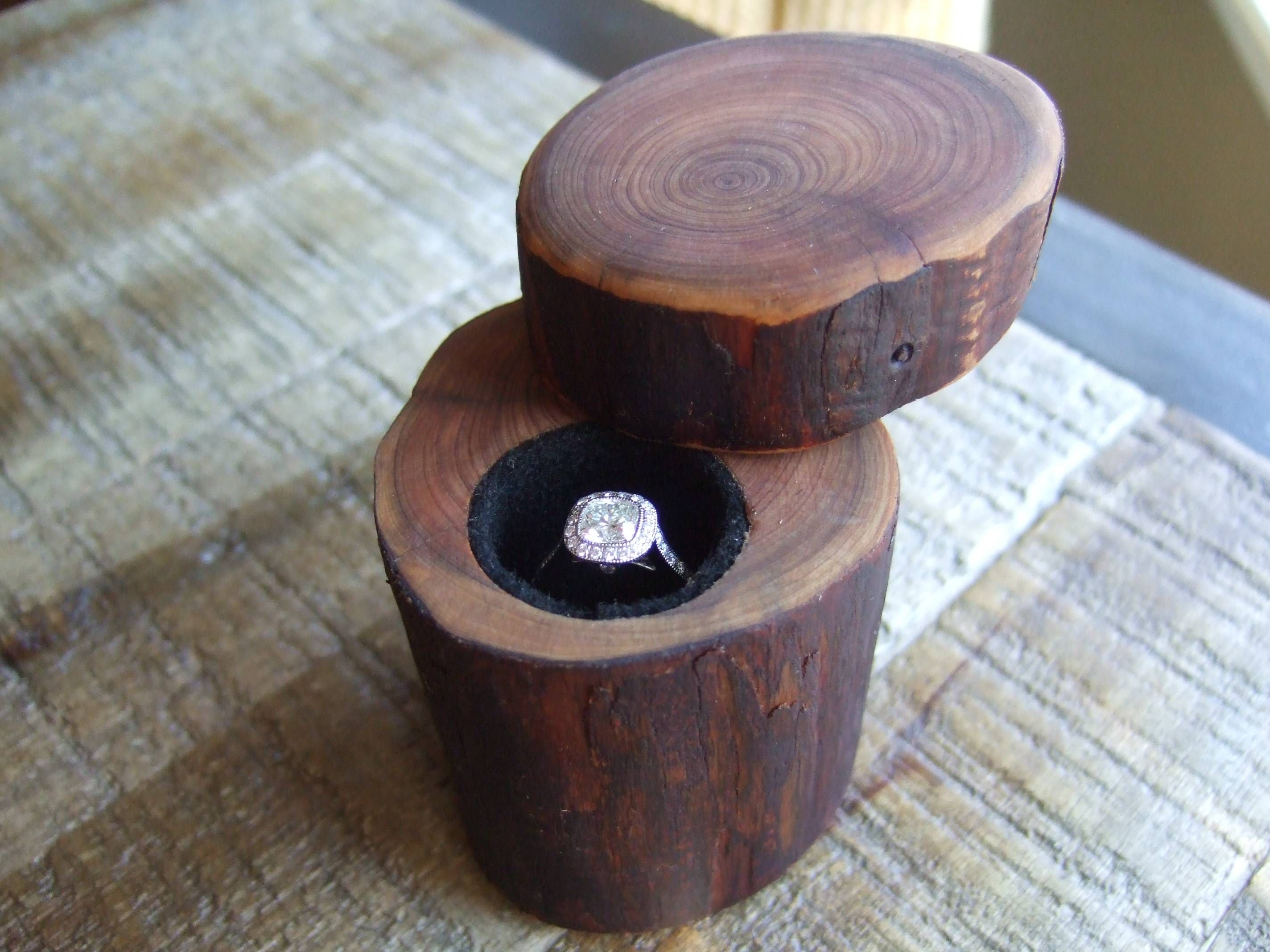 wooden wedding rings DIY Wedding Engagement Ring Box Made Out Of A Tree Branch