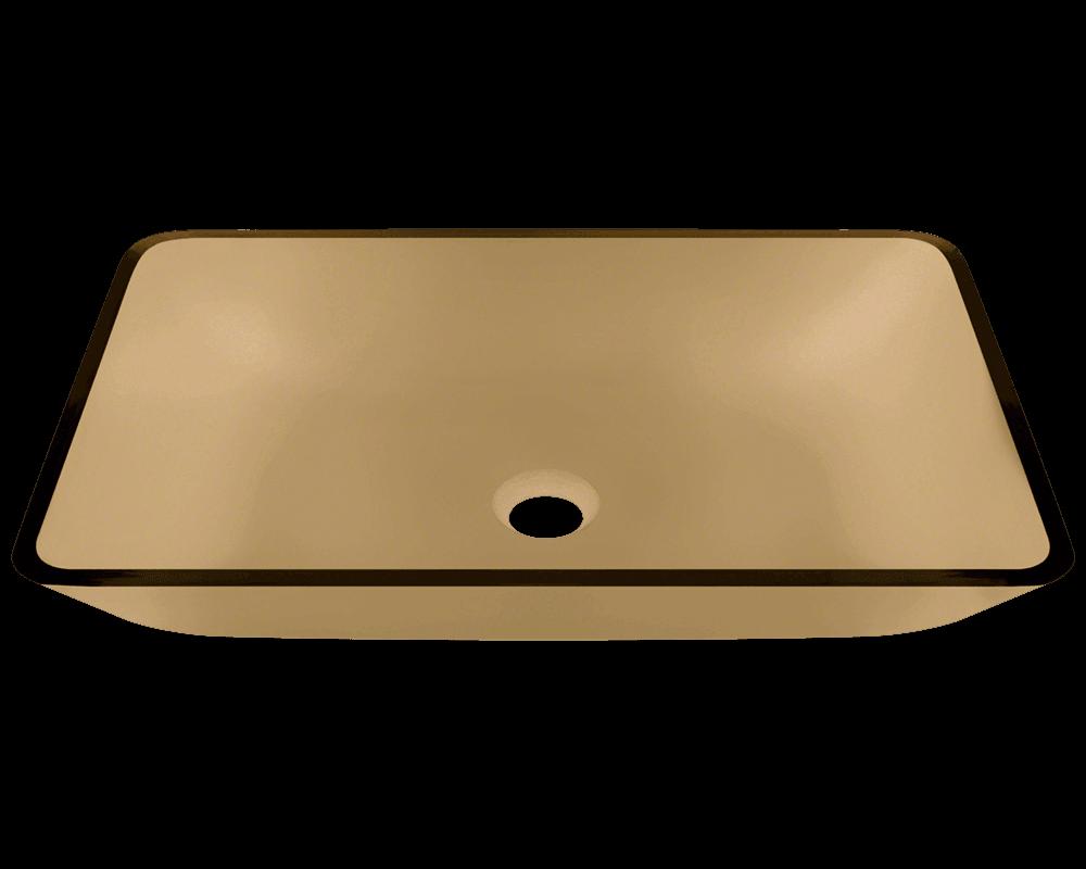 Polaris 22 38 Colored Glass Rectangular Bathroom Vessel Sink