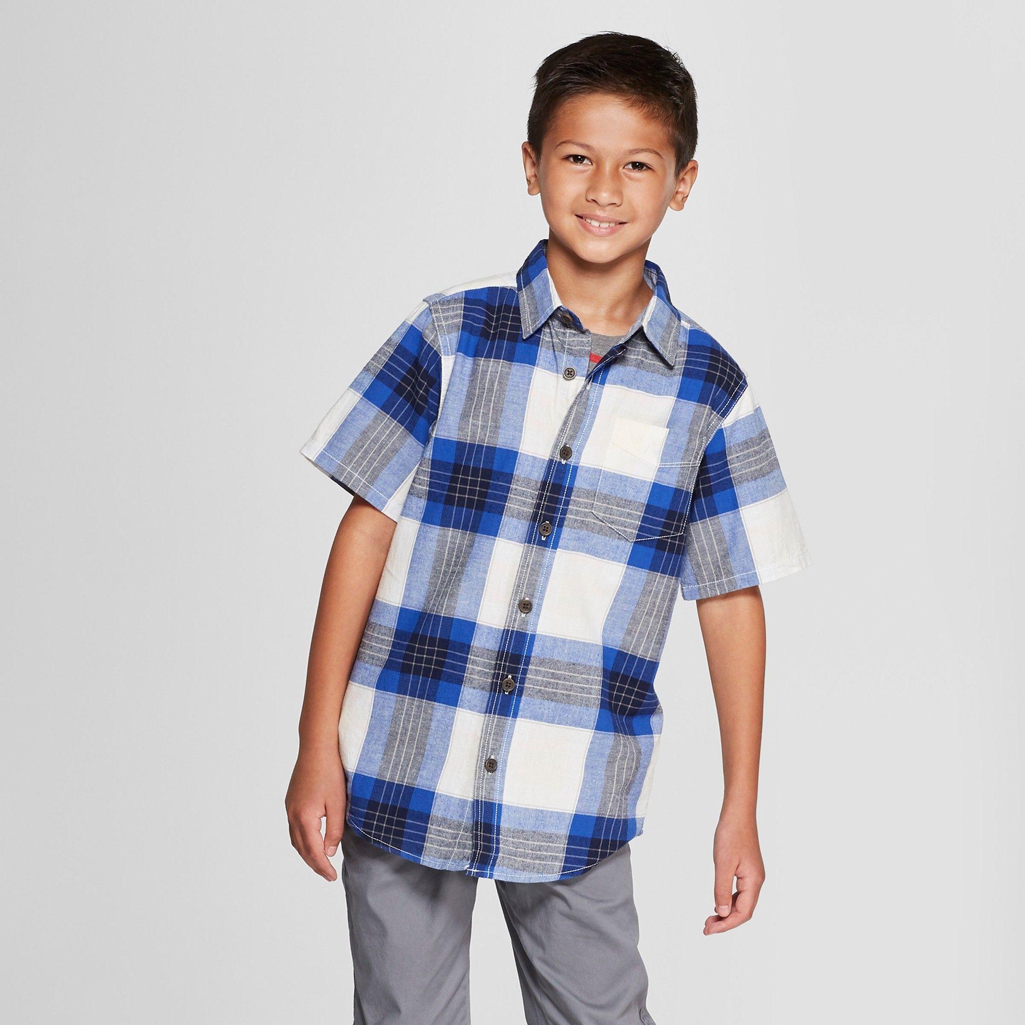 532ffa3d5 Boys' Short Sleeve Button-Down Shirt - Cat & Jack Navy Xxl, Blue ...