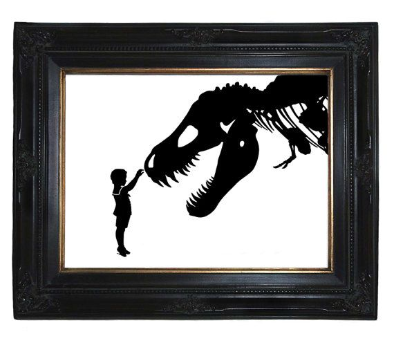 Silhouette Boy With T Rex Dinosaur Pet There Is Something Whimsical About This Print I Imagine Dinosaur Room Dinosaur Nursery Art