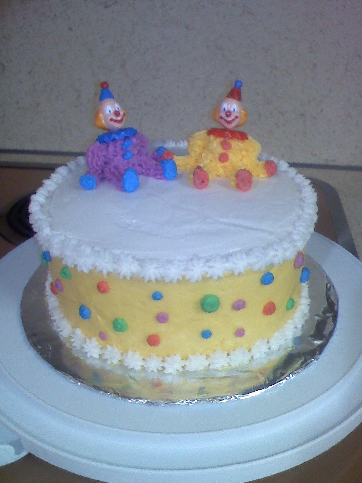 Wilton class cake - buttercream clowns