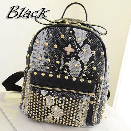 5be571e8711c13 Aliexpress.com : Buy OVO!!!Novelty snake grain pattern women girls backpack  faux leather rivet sport travel school bags purse bag mochila ZF0002 from  ...