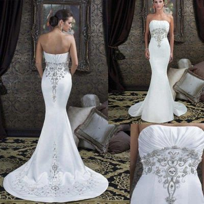 Tight fitted Long Bridal Dress with Silver Embroidery | Wedding ...