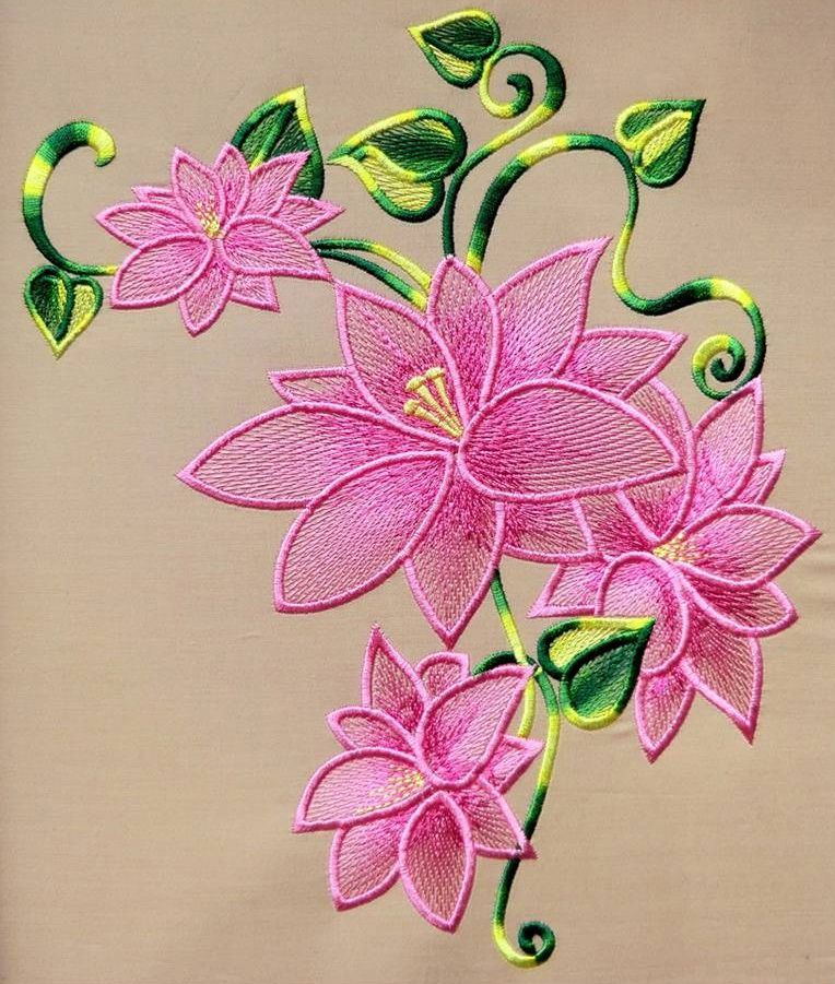 Lily lace free machine embroidery design                                                                                                                                                                                 More