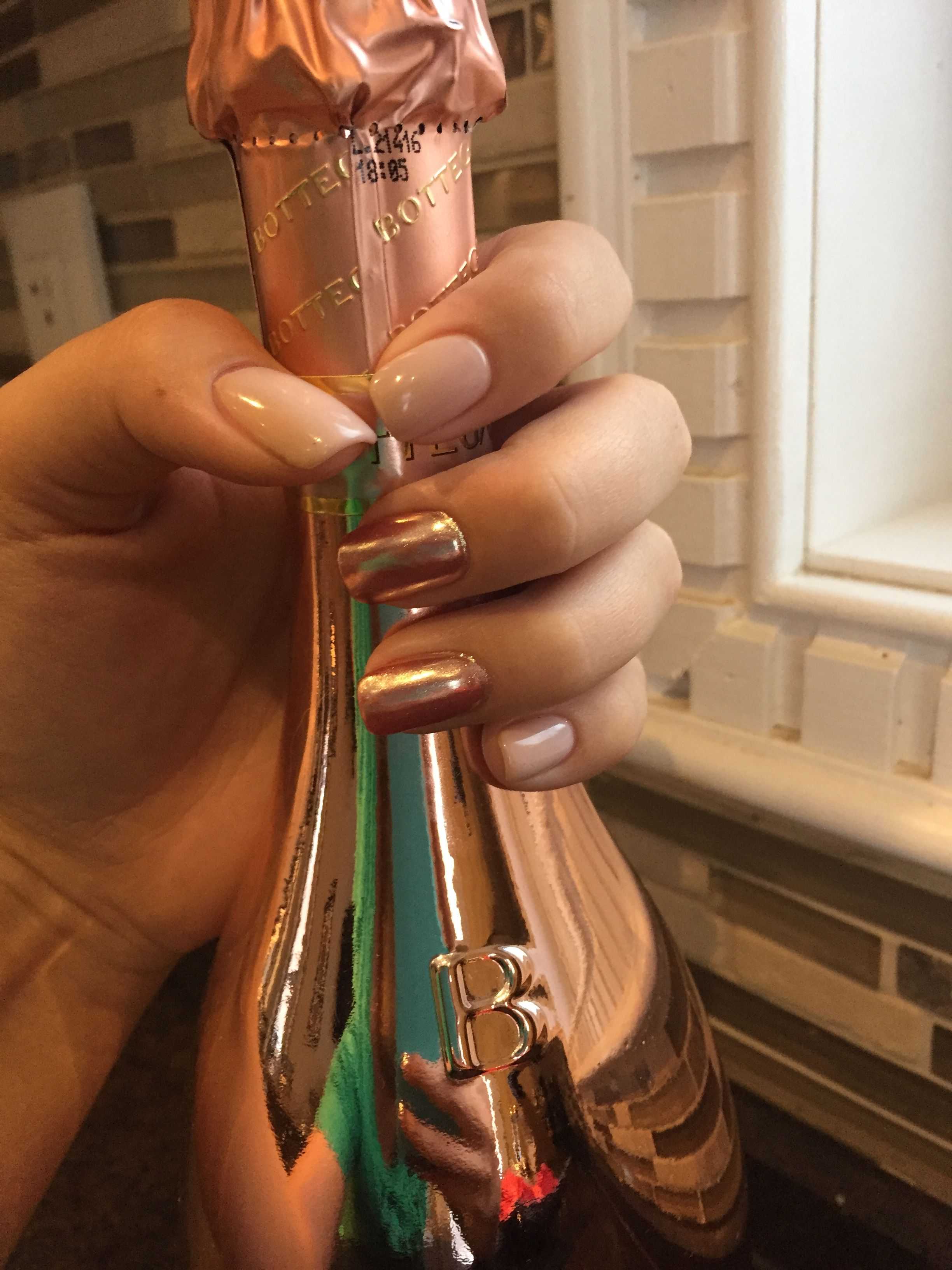 Rose gold chrome nails with nude shellac polish | nail art | Pinterest