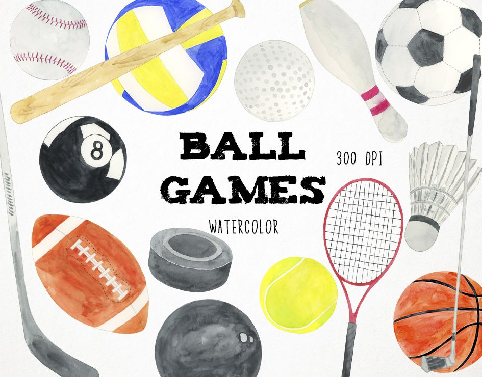 Baseball clipart, sports clipart, watercolor sports