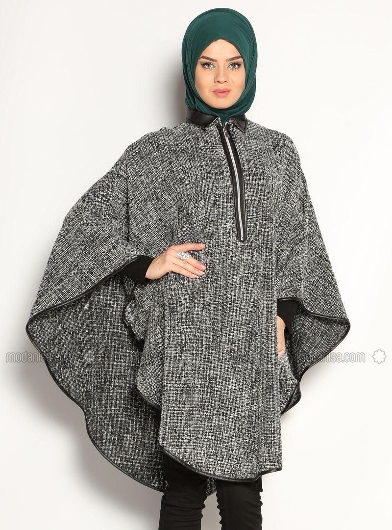 Fermeture éclair Poncho - Noir - Poncho - Modanisa | modeles femme ...